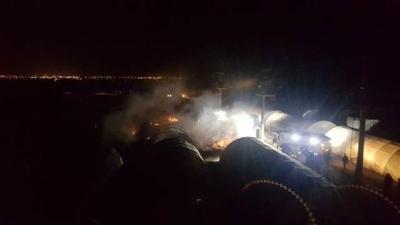 Mardin'in Nusaybin İlçesinde Özel Harekat Polisleri ve Askerlerin Kaldığı Çadır Kentte Yangın Çıktı