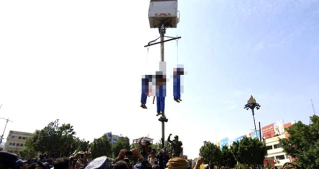 Yemen'de 10 Yaşındaki Çocuğu İşkence Yaparak Öldüren 3 Pedofili Erkek Şehir Meydanında Vinçle Asıldı