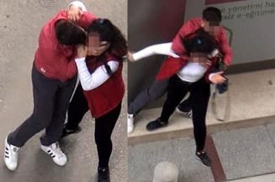 Adana'da Rezalet Görüntüler! Genç Kızı Sokak Ortasında Darp Etti
