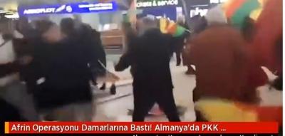 Afrin Operasyonunu Hazmedemediler! PKK'lılar Almanya'da Havalimanında Türk Yolculara Saldırdı