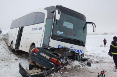 Kahramanmaraş'ta Feci Kaza! Yolcu Otobüsü Otomobille Çarpıştı: 1 Ölü, 4 Yaralı