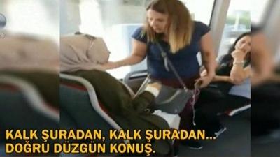 Metrobüste Kadınların İlginç Koltuk Kavgası! Yerinden Kaldıramayınca Kucağına Oturdu