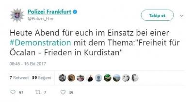 """Skandal! Frankfurt Polisi """"PKK İçin Görevdeyiz""""  Şeklinde Tweet Attı"""